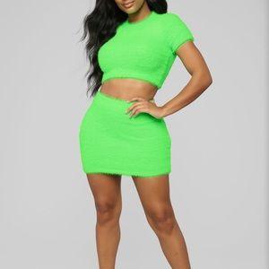 Fuzzy neon green skirt set